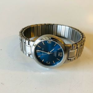 CASIO Watch Stainless Steel Stretch Band Blue